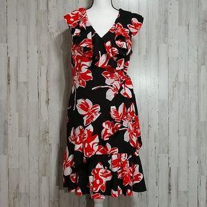 Tahari Red & Black Floral Faux Wrap Dress